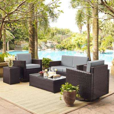 Palm Harbor 5-Piece Wicker Outdoor Conversation Set with Grey Cushions