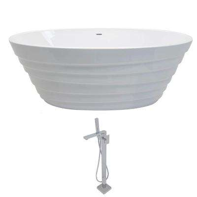 Nimbus 5.6 ft. Acrylic Classic Flatbottom Non-Whirlpool Bathtub in White with Dawn Freestanding Faucet in Chrome