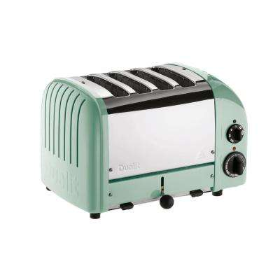 New Gen 4-Slice Mint Green Wide Slot Toaster with Crumb Tray