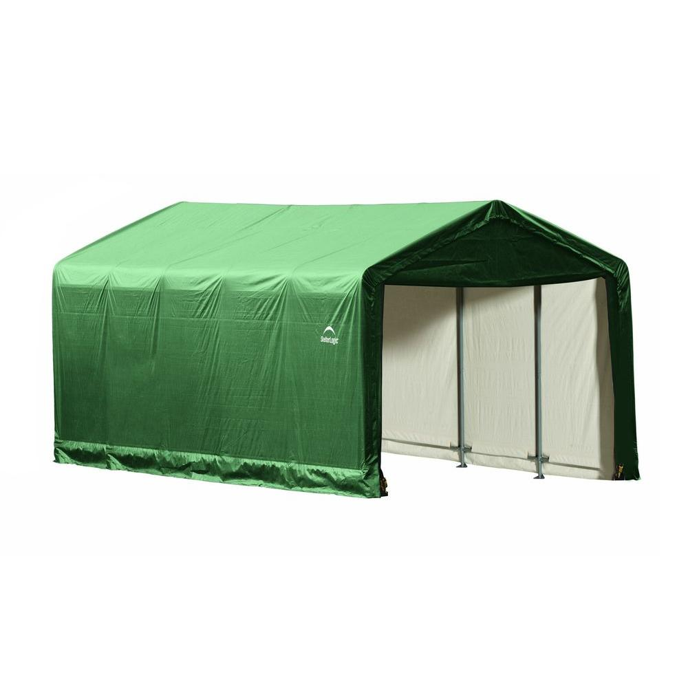 ShelterLogic ShelterTube 12 ft. x 25 ft. x 11 ft. Green Steel and Polyethylene Garage without Floor