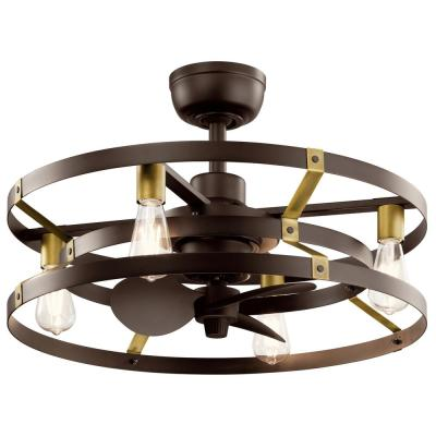 Cavelli 13 in. LED Indoor Satin Natural Bronze Ceiling Fan with Light with Wall Switch