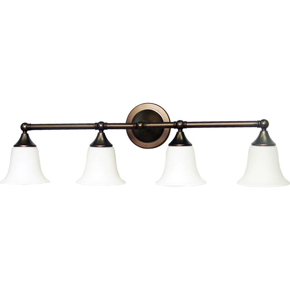 Volume lighting 4 light florence bronze bath and vanity light v1364 27 the home depot for Home depot bathroom lighting bronze