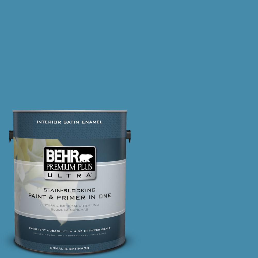 1 gal. #550D-6 Blue Chaise Satin Enamel Interior Paint and Primer