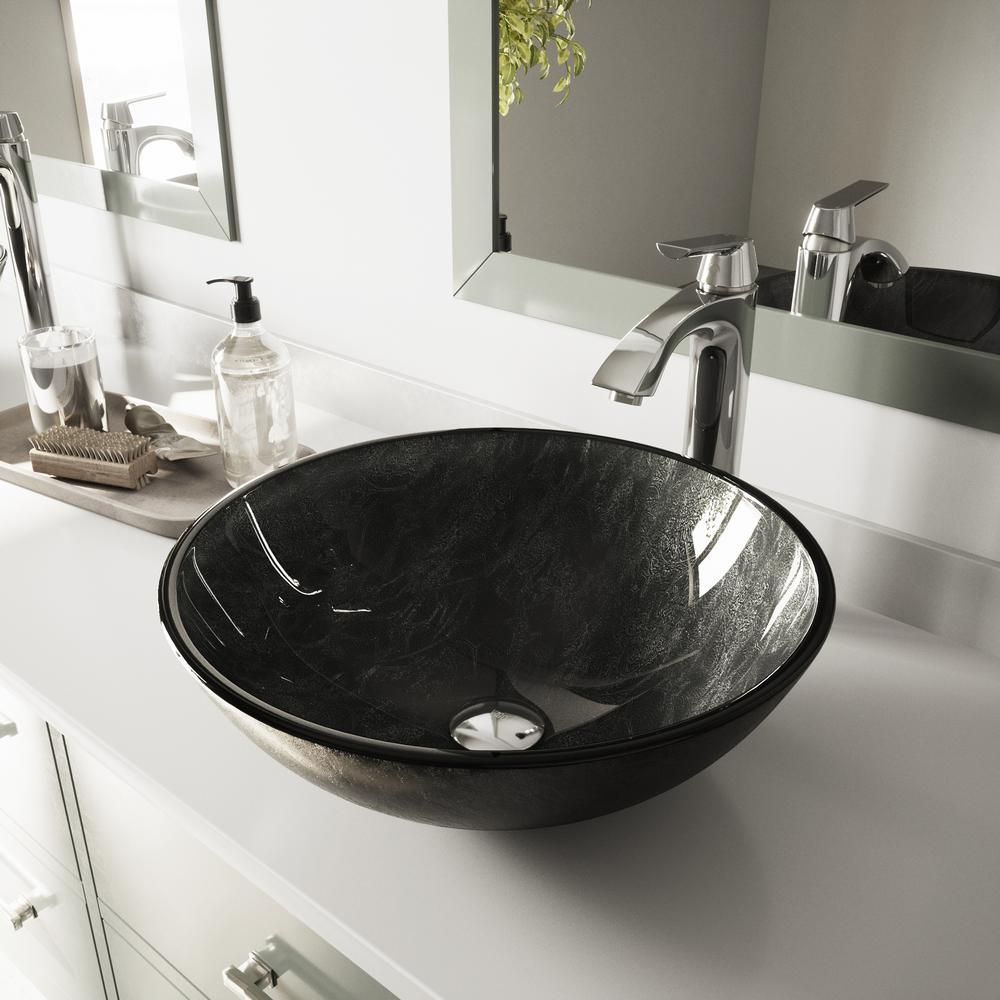 VIGO Glass Vessel Bathroom Sink in Gray Onyx and Linus Faucet Set in Chrome