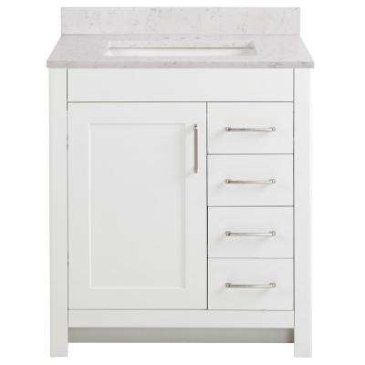 Westcourt 31 in. W x 22 in. D x 38.50 in. H Bath Vanity in White with Stone Effect Vanity Top in Pulsar with White Sink