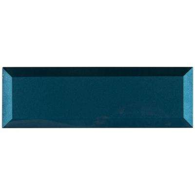 Tahiti Blue Beveled 2.5 in. x 9 in. x 8mm Glass Wall Tile (5.6 sq. ft. / case)