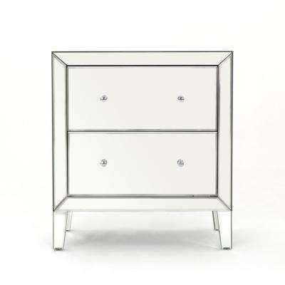 Jeremye 2-Drawer Mirrored Chest with Faux Wood Frame