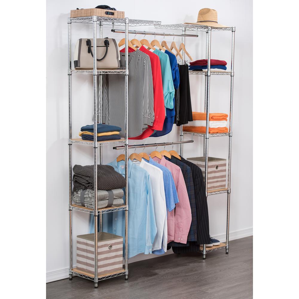 H Chrome Expandable Closet Organizer