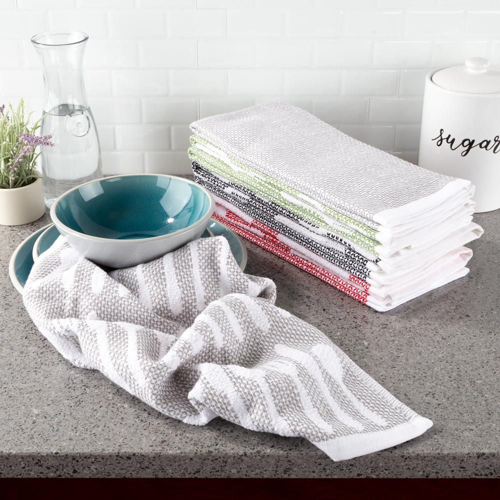 Multi-Color Flatware Design Chic Pattern Weave Cotton Kitchen Towel Set (8-Pieces)