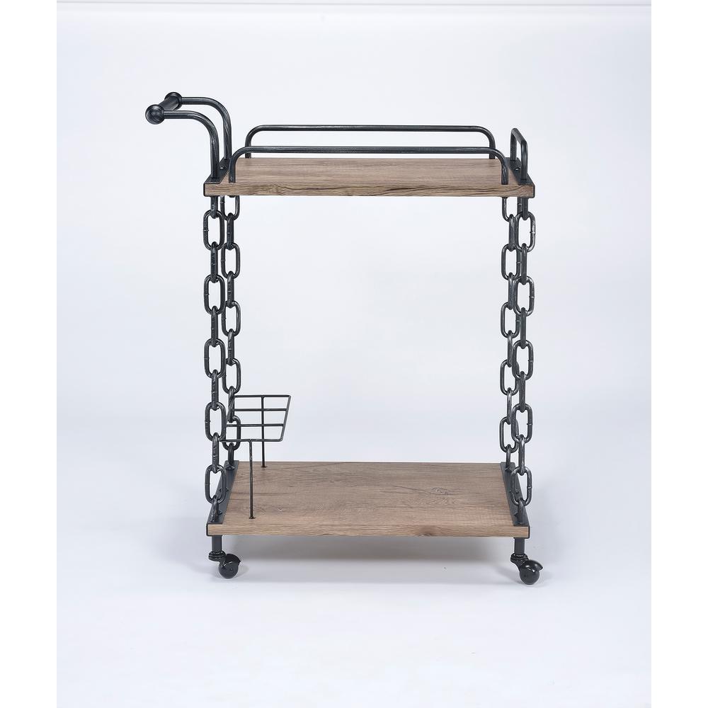 ACME Furniture Jodie Rustic Oak & Black Serving Cart 98172
