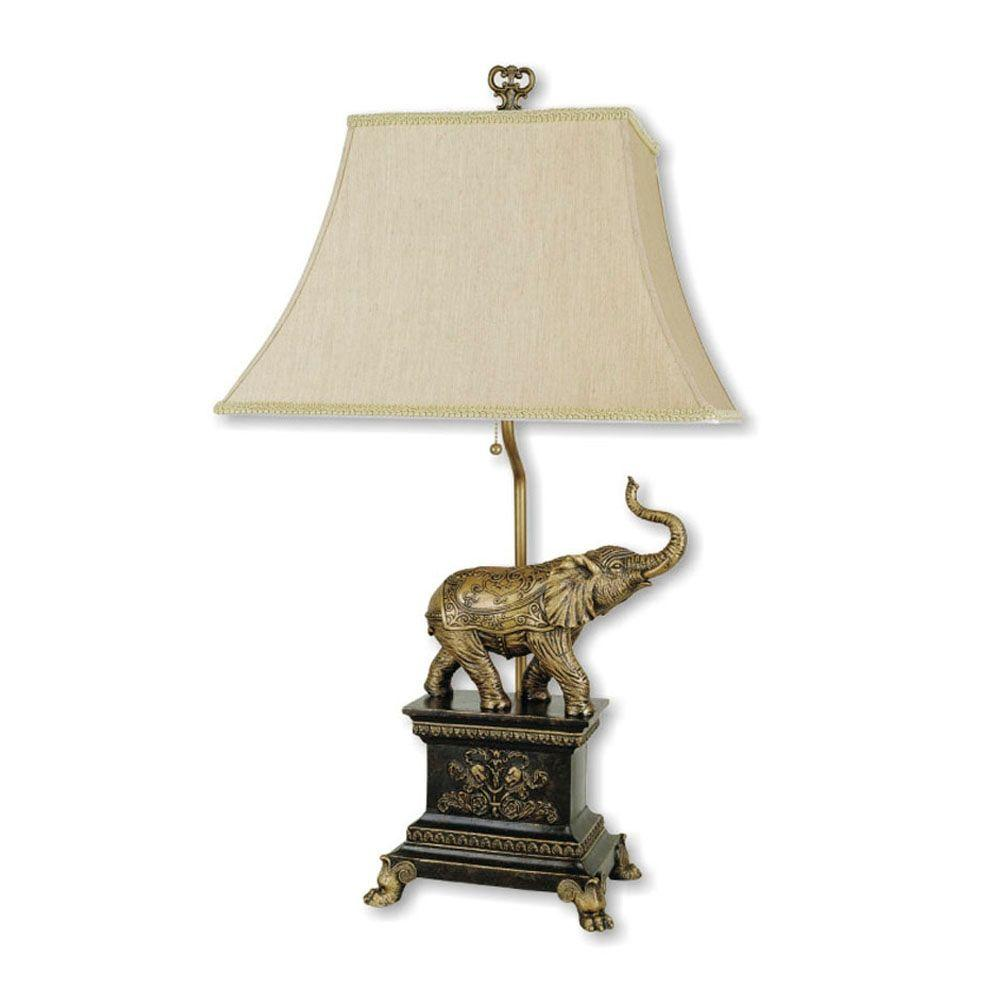 Bon Elephant Antique Gold Table Lamp
