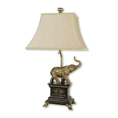 27 in. Elephant Antique Gold Table Lamp