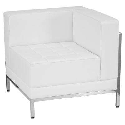 Hercules Imagination Series Contemporary White Leather Right Corner Chair with Encasing Frame  sc 1 st  The Home Depot & White - Arm Chair - Faux Leather - Accent Chairs - Chairs - The Home ...