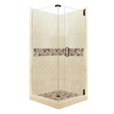 Tuscany Grand Hinged 38 in. x 38 in. x 80 in. Right-Hand Corner Shower Kit in Desert Sand and Old Bronze Hardware
