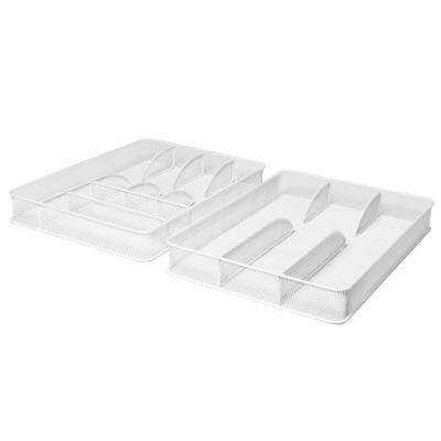 White Steel Mesh Flatware Utensil Cutlery Desk Drawer Tray Organizer Set