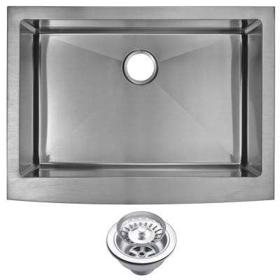 Farmhouse Apron Front Stainless Steel 30 in. Single Bowl Kitchen Sink with Strainer in Satin