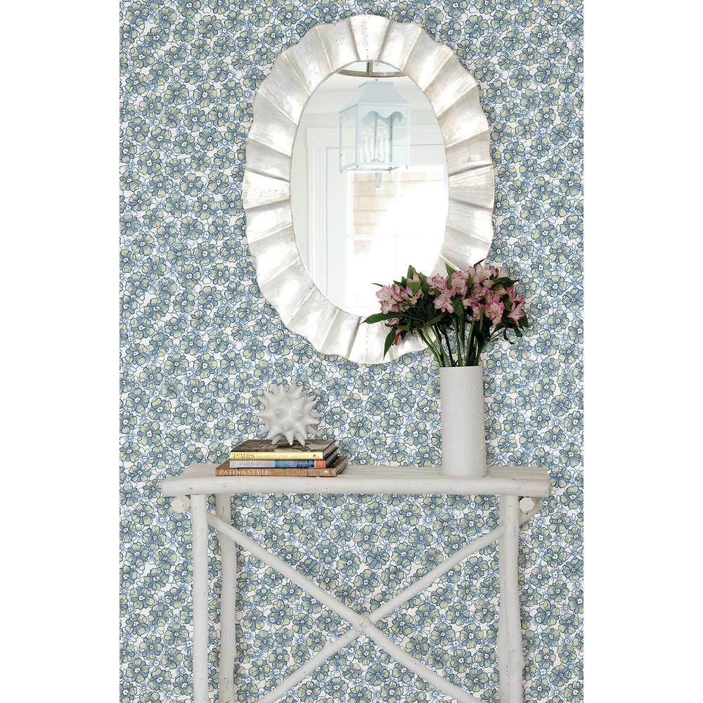 Allison Blue Floral Wallpaper Sample