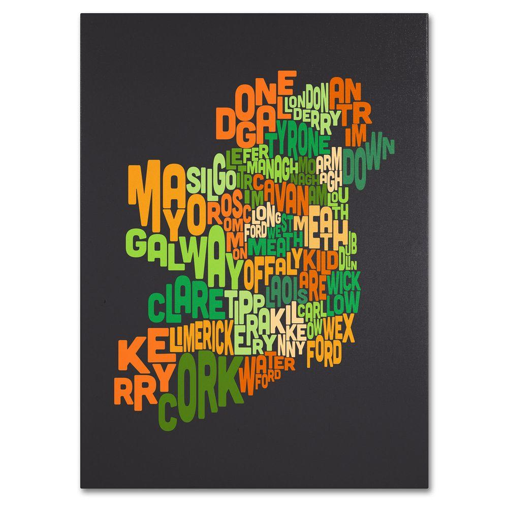 16 in. x 24 in. Ireland Text Map 6 Canvas Art