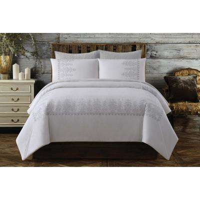Chambray Cotton White King Duvet Set