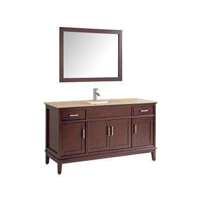 Sierra 48 in. W x 22 in. D x 36 in. H Vanity in Tobacco with Quartz Vanity Top in Tan Ivory with White Basin and Mirror
