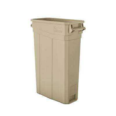Slim 23 Gal. Sand Plastic Trash Can With Handles