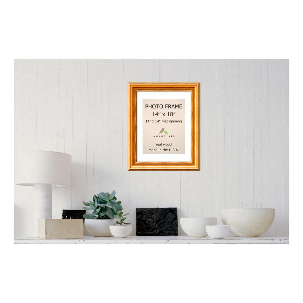 Amanti Art Townhouse 11 in. x 14 in. White Matted Gold Picture Frame ...