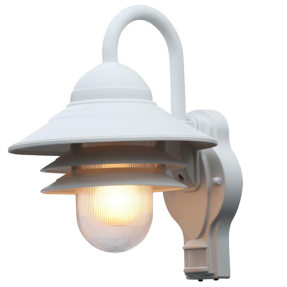 Newport Coastal Marina 110 Degree Outdoor White Motion Sensing Wall Lantern Sconce