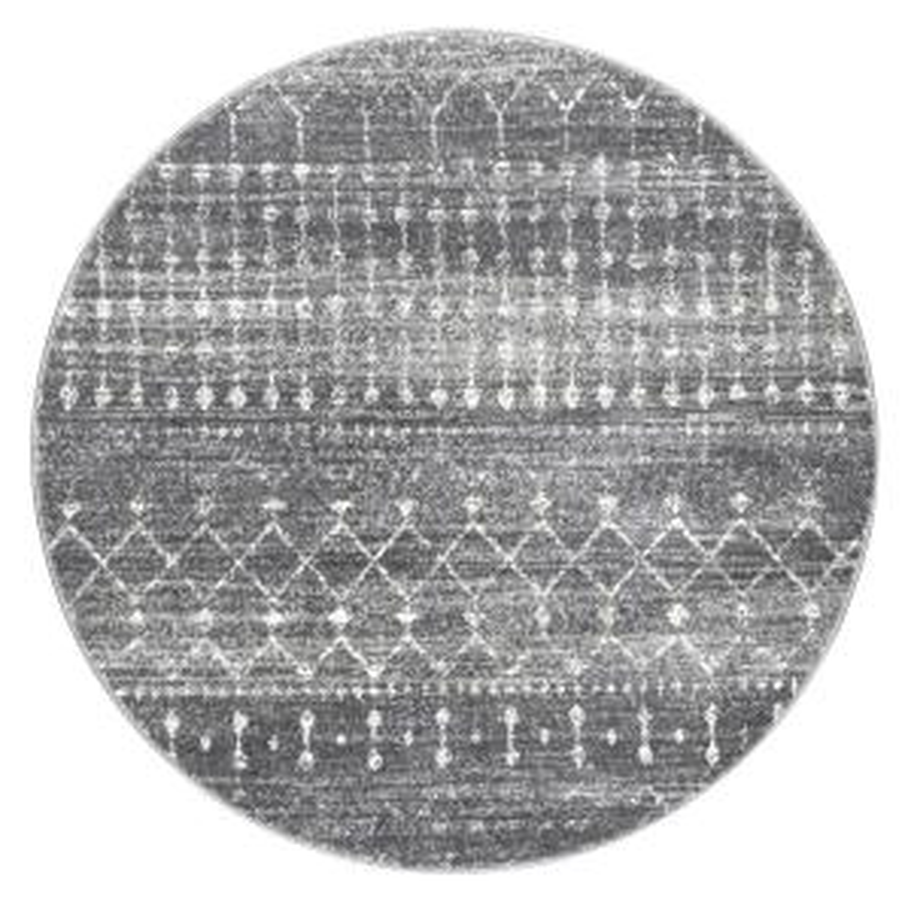 Blythe Modern Moroccan Trellis Dark Gray 8 ft. Round Rug