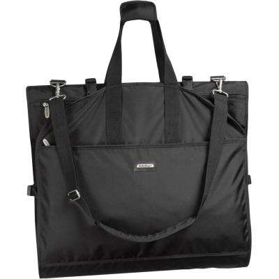 66 in. Tri-Fold Destination Wedding Black Garment Bag with Shoulder Strap and Pockets