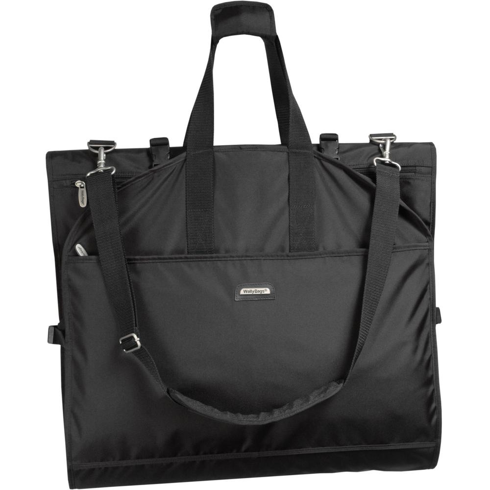 WallyBags 66 in. Tri-Fold Destination Wedding Black Garment Bag with Shoulder Strap and Pockets The 66-inch Destination Wedding Bag takes the stress out of wedding travel. Easy to carry-on, delicate garments like a wedding gown stay neat and wrinkle-free in this lightweight, shoulder strap garment bag with WallyLock hanger clamp. The Wally clamp holds up to 6 garments and accepts any type of hanger so clothes won't fall to the bottom of the bag. Its the perfect solution for traveling with a wedding gown and tuxedo. Clergy, choirs, and cruisers love the longer length too. Sleek and stylish smart polyester is durable and water repellent, providing all weather protection. Superior construction guarantees long-lasting performance. A fully lined interior provides extra protection, padded roll bars secure clothing and multiple accessory pockets have enough room for shoes, a toiletry kit, and accessories. Carrying handles wrap around the trolley system of luggage for effortless travel. Also includes a comfortable, adjustable shoulder strap for hands free carrying. Color: Black.