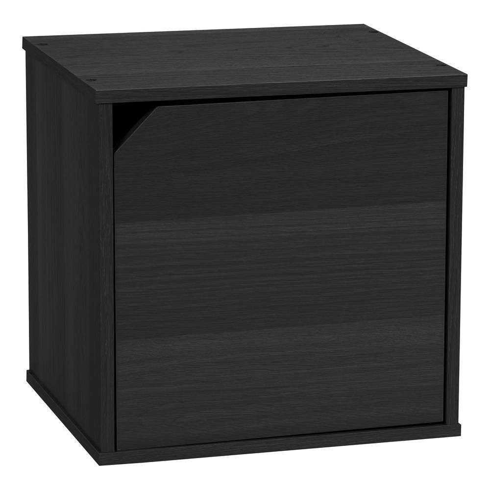 BAKU Modular Wood Cube Box with Door, Black