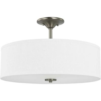 Inspire 18 in. 3-Light Brushed Nickel 3-Light Semi-Flush Mount