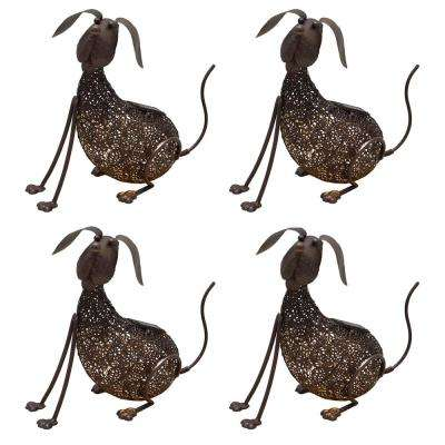 14.2 in. Steel Indoor/Outdoor Animal Garden Dog Metal Puppy Sculpture Statue with Solar Light (4-Pack)