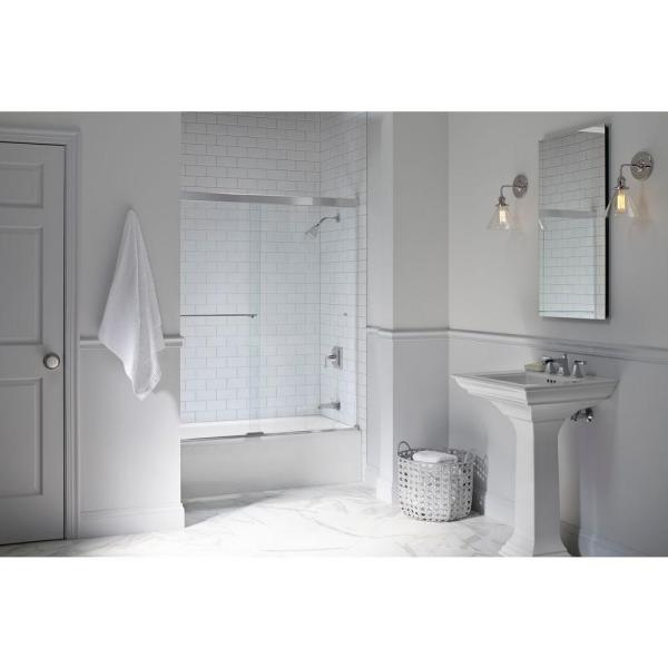 Revel 59-5/8 in. x 55-1/2 in. Frameless Sliding Tub Door in Anodized Brushed Nickel with Handle
