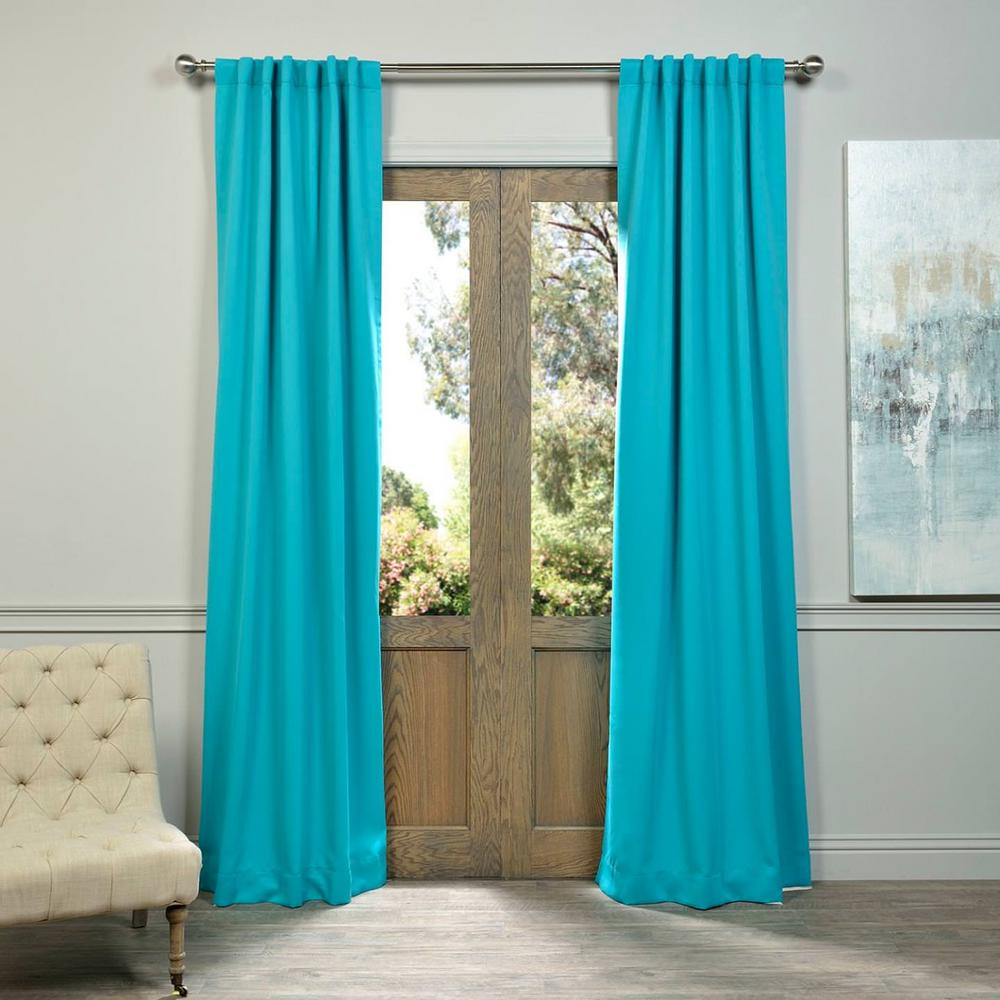 Exclusive Fabrics Furnishings Semi Opaque Turquoise Blue Blackout Curtain 50 In W X 84 In