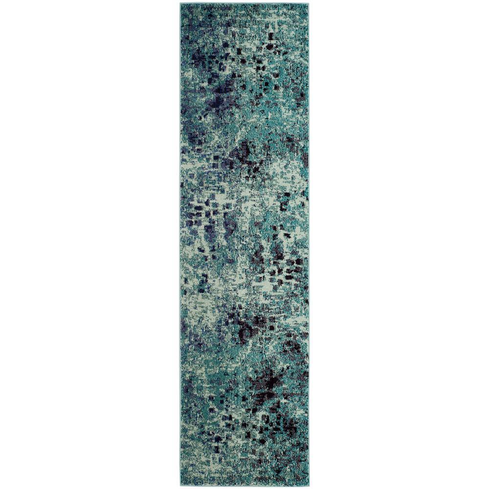 Monaco Light Blue/Multi 2 ft. 2 in. x 12 ft. Runner Rug