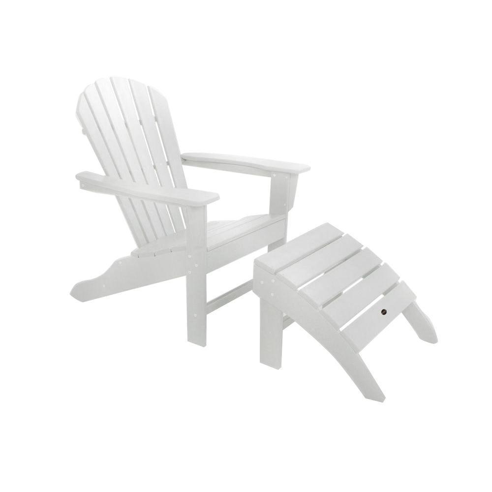 South Beach White Plastic 2-Piece Adirondack Patio Chair