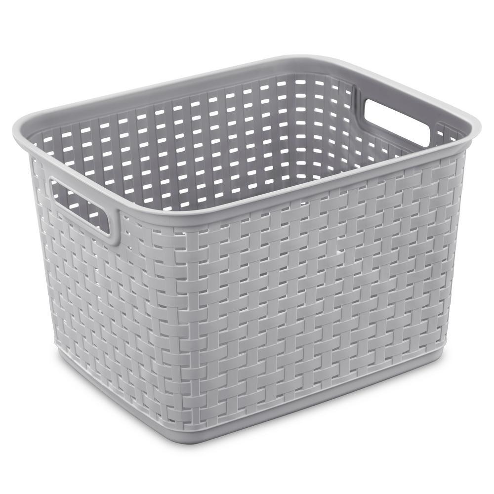15 in. x 12.25 in. x 9.375 in. Plastic Tall Weave Basket