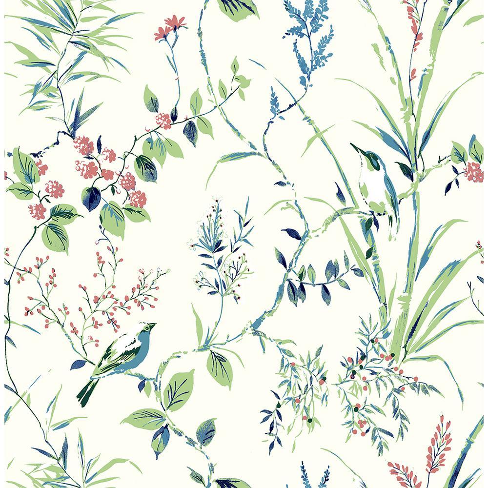 56.4 sq. ft. Mariko Green Botanical Strippable Wallpaper
