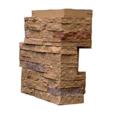 Stacked Stone Sandy Buff 4.25 in. x 13.75 in. Faux Stone Siding Corner (4-Pack)