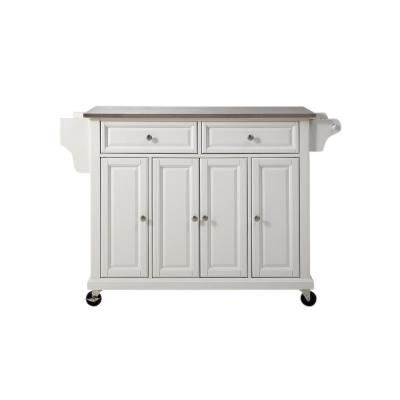Full Size White Kitchen Cart with Stainless Top