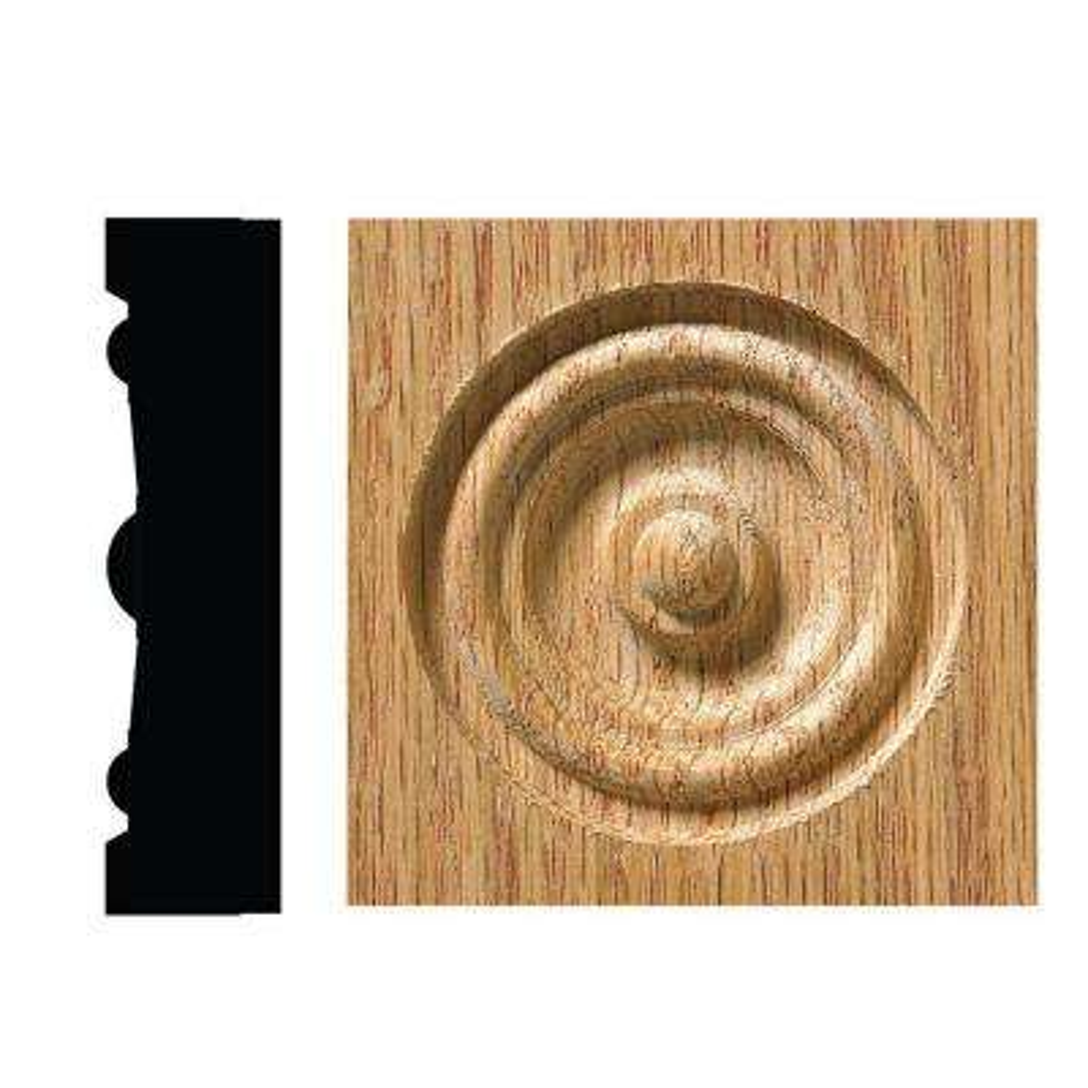 5/8 in. x 2-1/2 in. x 2-1/2 in. Red Oak Bull's Eye Corner Block