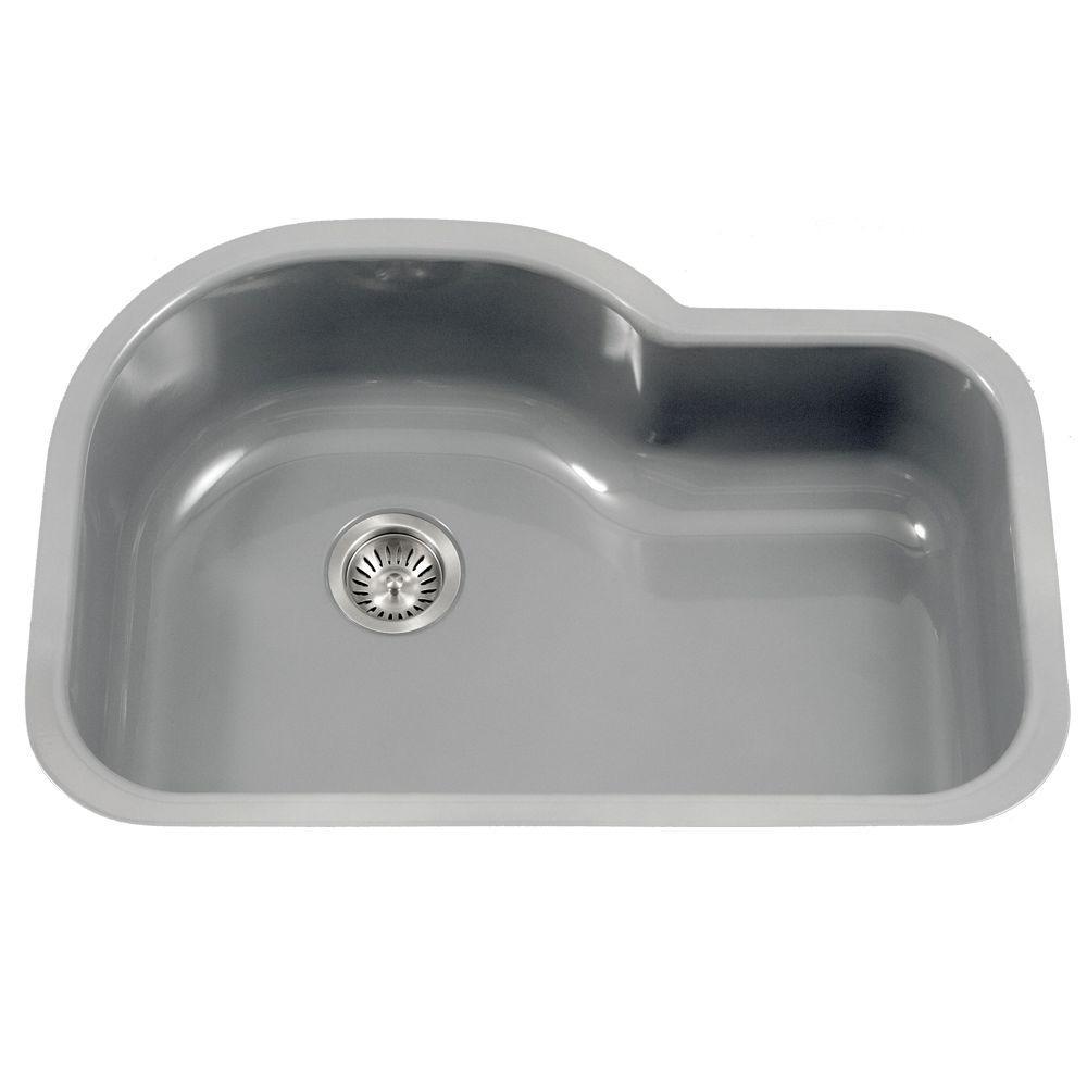 Porcela Series Undermount Porcelain Enamel Steel 31 In. Offset Single Bowl Kitchen  Sink In Slate