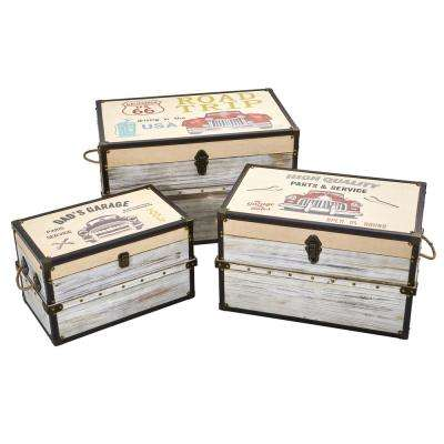 Classic Car Collection Wood Trunk and Storage Boxes (Set of 3)