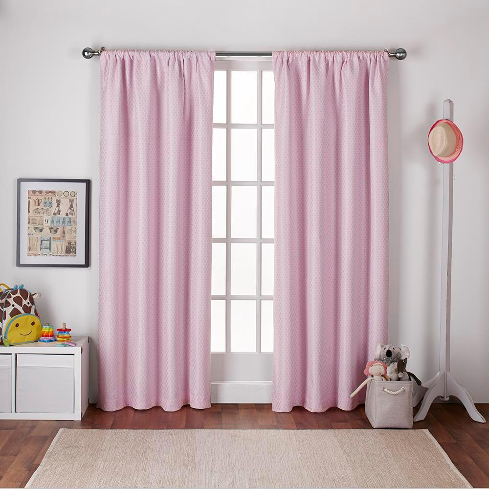 Polka Bubble Gum Pink Dot Jacquard Blackout Rod Pocket Top Window Curtain