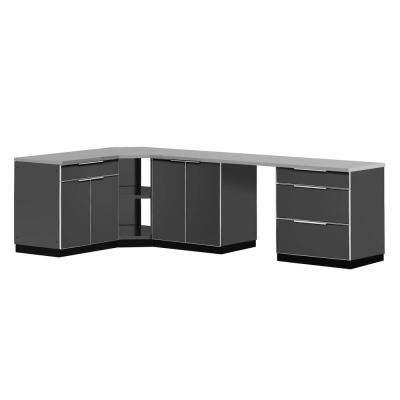 Aluminum Slate 6-Piece 110x36x76 in. Outdoor Kitchen Cabinet Set