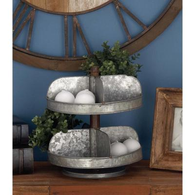 2-Tier Indistrial Arts Iron Tray Stand in Gray
