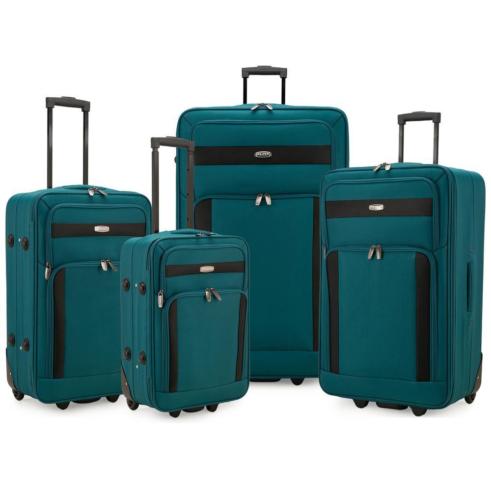 Cedar 4-Piece Teal Softside Lightweight Rolling Luggage Set