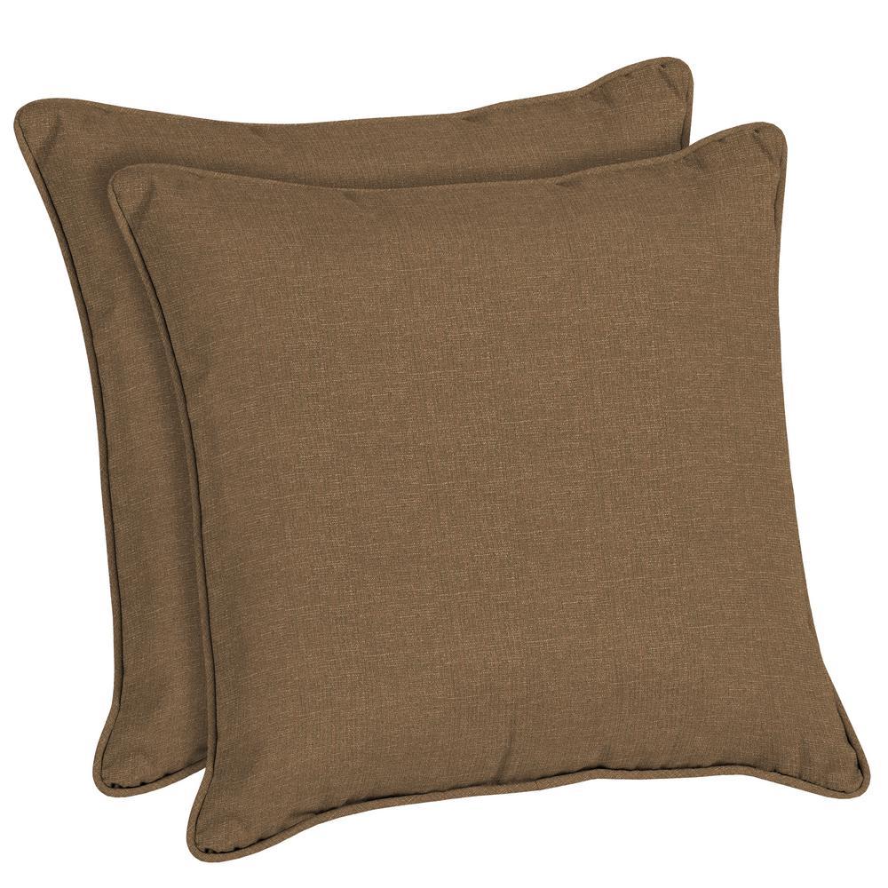 Sunbrella Cast Teak Square Outdoor Throw Pillow (2-Pack)