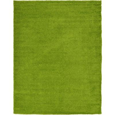 Solid Shag Grass Green 10 ft. x 13 ft. Area Rug